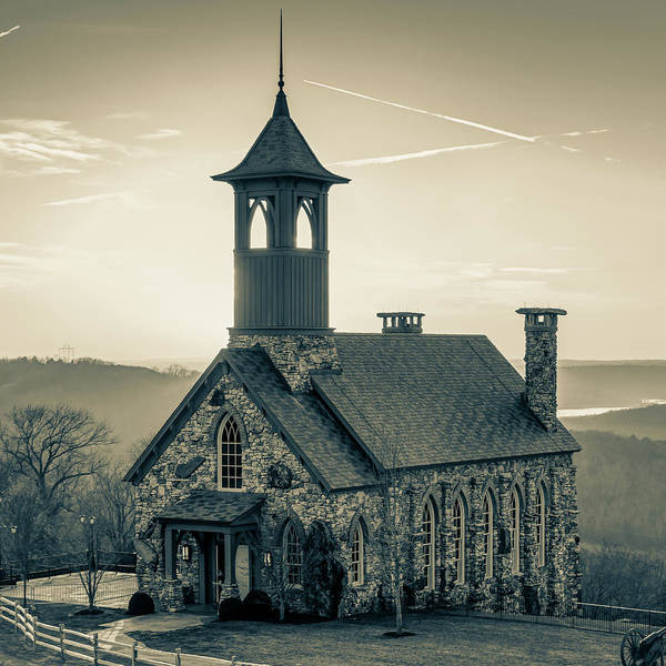 Photograph - Chapel Of The Ozarks - Ridgedale Missouri 1x1 Sepia by Gregory Ballos