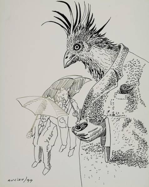 Pencil Drawing Painting - Characters 1, 1999 Pen Nib On Paper by Ignacio Auzike