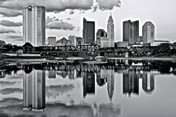 Ohio State Football Photograph - Charcoal Columbus Mirror Image by Frozen in Time Fine Art Photography