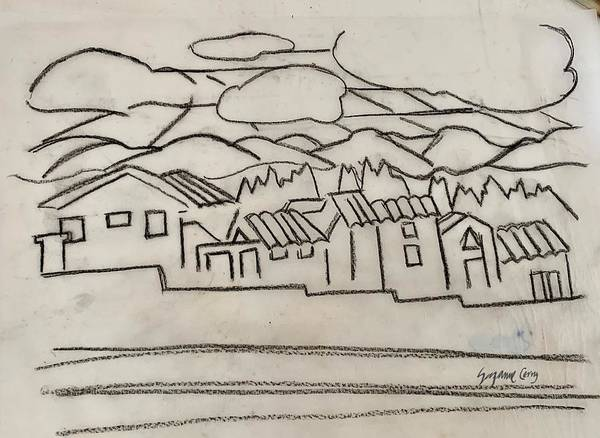 Painting - Charcoal Houses Sketch by Suzanne Cerny