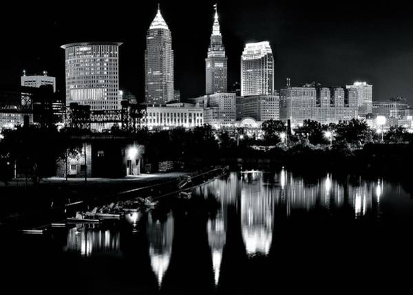 Wall Art - Photograph - Charcoal Night View Of Cleveland by Frozen in Time Fine Art Photography