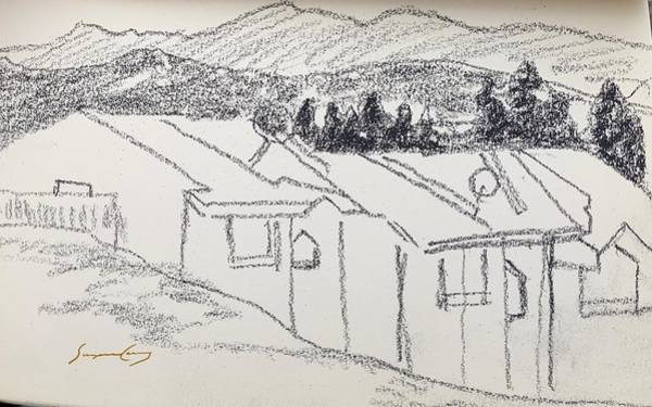 Drawing - Charcoal Pencil Houses1.jpg by Suzanne Cerny
