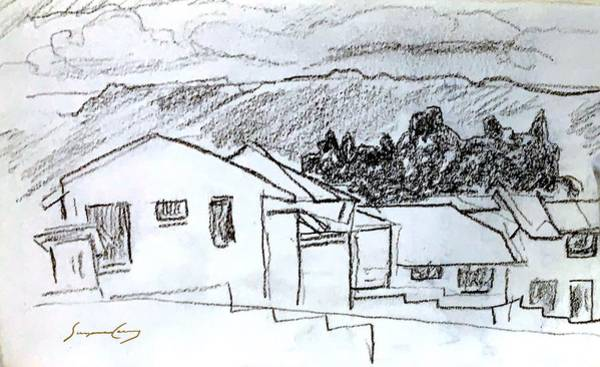 Painting - Charcoal Pencil Houses.jpg by Suzanne Cerny