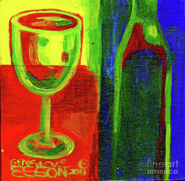 Wall Art - Painting - Chardonnay Wine Abstrct With Bottle In Blue Background by Genevieve Esson