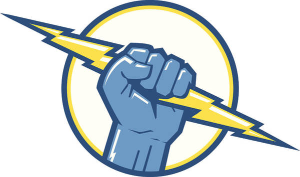 Electricity Digital Art - Charge Fist by Big ryan