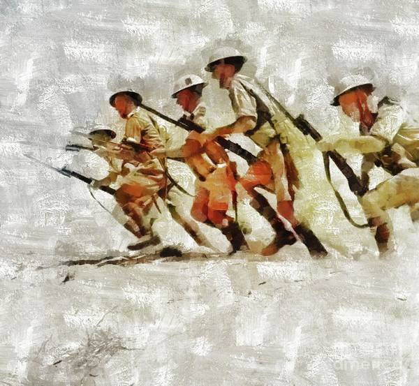 Wall Art - Painting - Charge, World War Two by Mary Bassett