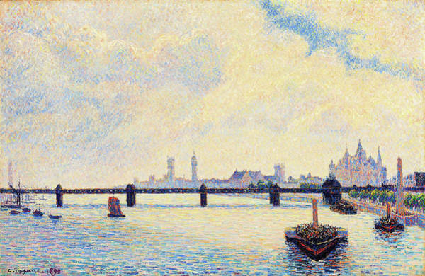 Riverbed Painting - Charing Cross Bridge, London - Digital Remastered Edition by Camille Pissarro