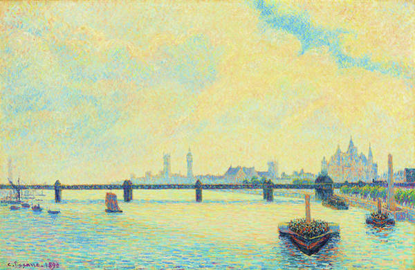 Riverbed Painting - Charing Cross Bridge, London - Original Sunsetcolor Edition by Camille Pissarro