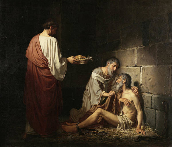 Hunger Painting - Charity In The Early Days Of The Church by Jose Maria Ibarraran y Ponce