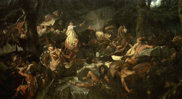 Wall Art - Painting - Charlemagne Traverse Les Alpes Au Mont-cenis Defendu Par Les Lombards, 773 by Paul Delaroche