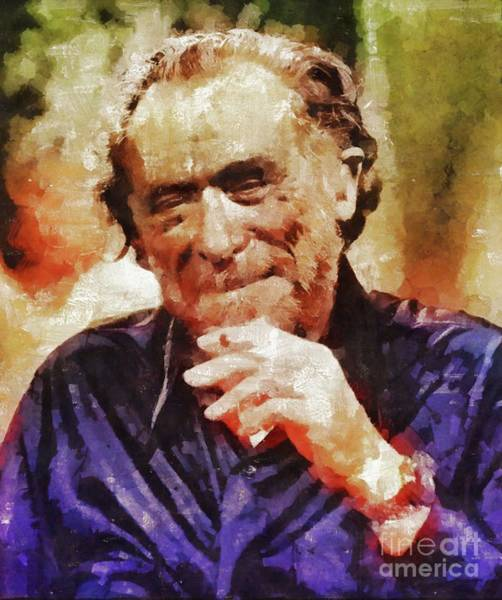 Wall Art - Painting - Charles Bukowski, Literary Legend by Mary Bassett