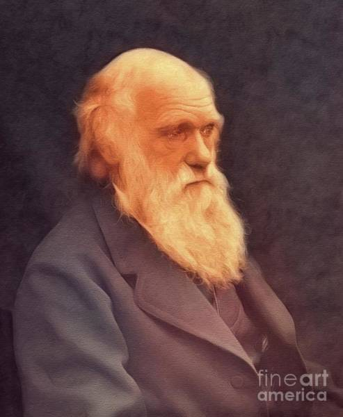 Evolution Wall Art - Painting - Charles Darwin, Famous Scientist by John Springfield
