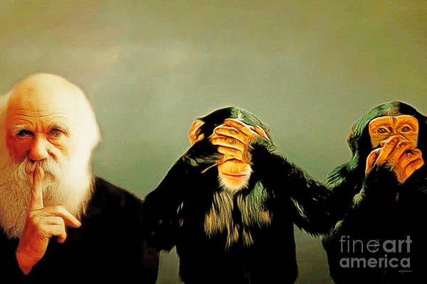 Photograph - Charles Darwin The Three Wise Monkeys See No Evil 20180925 by Wingsdomain Art and Photography