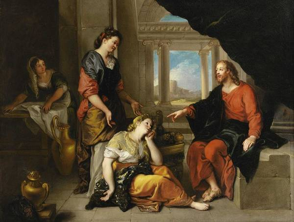 Wall Art - Painting - Charles De La Fosse Paris 1636 - 1716 Christ At The Home Of Martha And Mary by Celestial Images