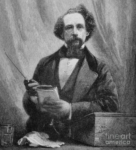 Library Drawing - Charles Dickens, 1858  by English School
