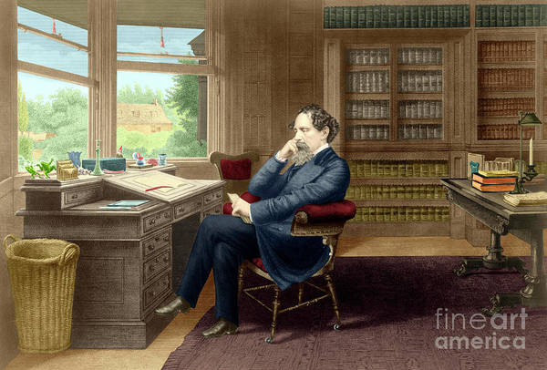 Wall Art - Painting - Charles Dickens In His Study In Gadshill by French School