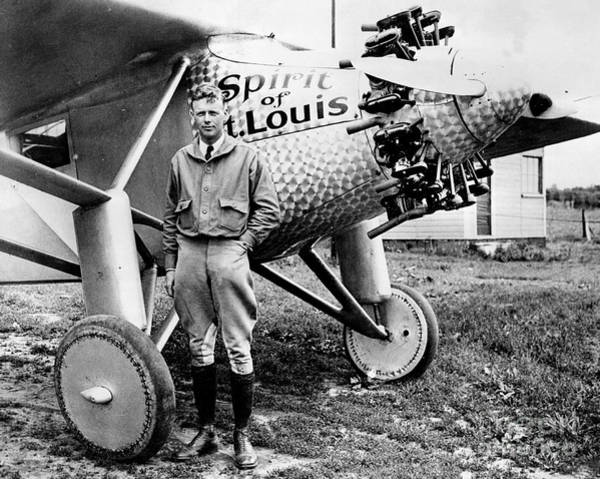 New Jersey Photograph - Charles Lindbergh Alongside The Spirit by New York Daily News Archive