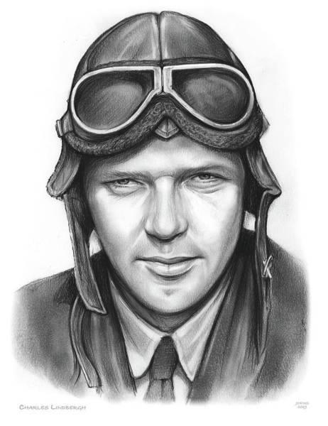 Charles Drawing - Charles Lindbergh by Greg Joens