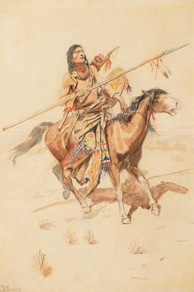 Wall Art - Painting - Charles M. Russell  1864-1926 On The Warpath  Or  Brave  Circa 1892  by Celestial Images