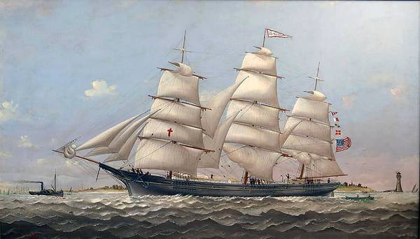 Wall Art - Painting - Charles S. Raleigh American  1830-1925  Ship Lucy G. Dow by Celestial Images