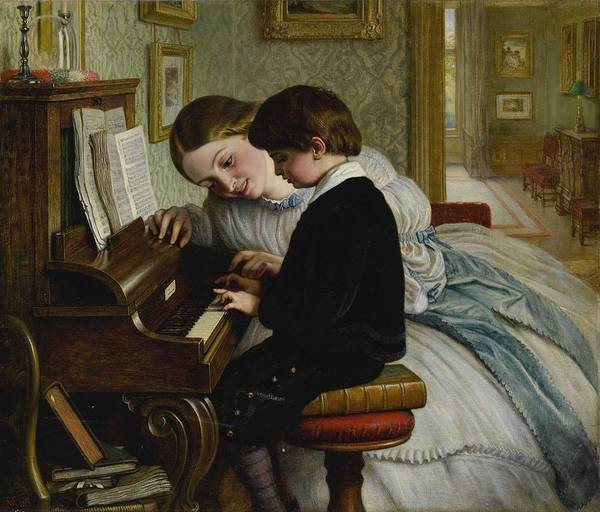 Wall Art - Painting - Charles West Cope, R.a. 1811-1890 The First Music Lesson by Celestial Images