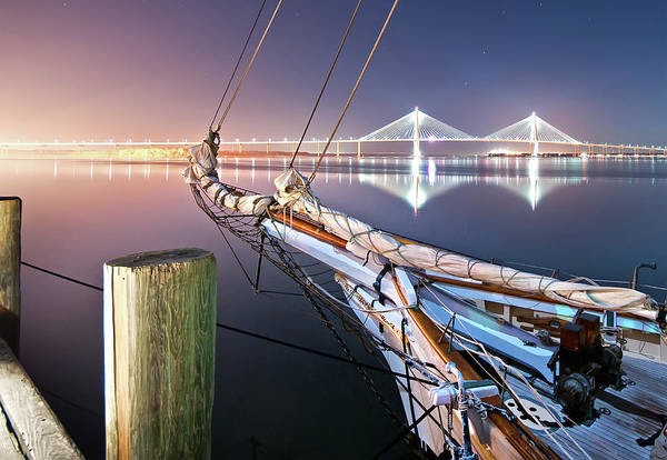 Night Photograph - Charleston Harbor by Sky Noir Photography By Bill Dickinson