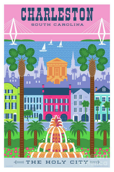 Wall Art - Digital Art - Charleston Poster - Retro Travel  by Jim Zahniser