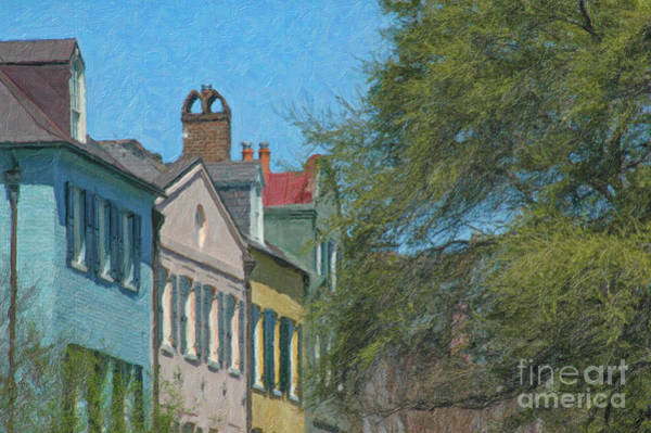 Painting - Charleston Rainbow Row Rooftops by Dale Powell