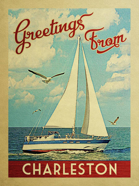 Seagull Digital Art - Charleston Sailboat Vintage Travel by Flo Karp