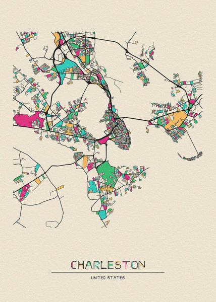 Wall Art - Drawing - Charleston, South Carolina City Map by Inspirowl Design