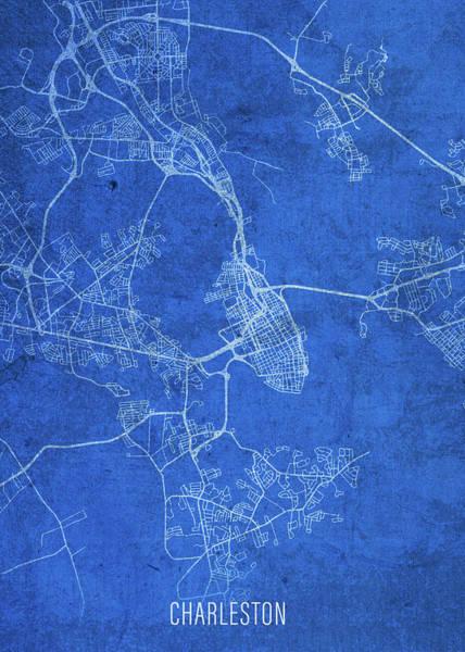 Wall Art - Mixed Media - Charleston South Carolina City Street Map Blueprints by Design Turnpike