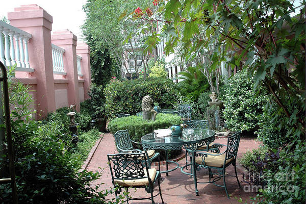 Wall Art - Photograph - Charleston South Carolina Gardens Courtyard French Quarter  by Kathy Fornal