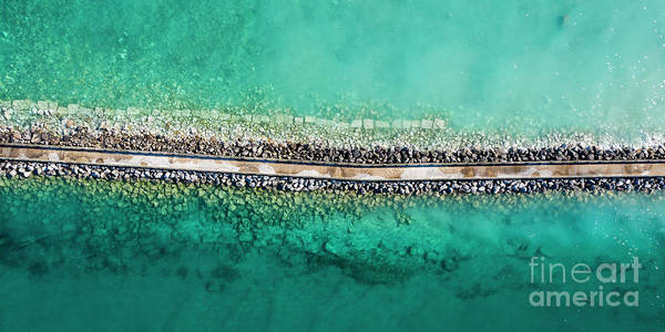 Charlevoix Photograph - Charlevoix Aerial Breakwall 2x1 by Twenty Two North Photography
