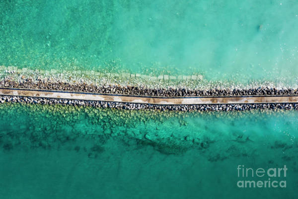 Charlevoix Photograph - Charlevoix Aerial Of Breakwall by Twenty Two North Photography