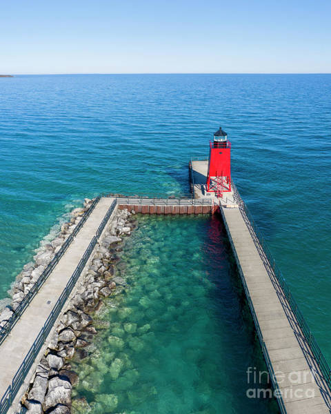 Charlevoix Photograph - Charlevoix Pier Aerial by Twenty Two North Photography