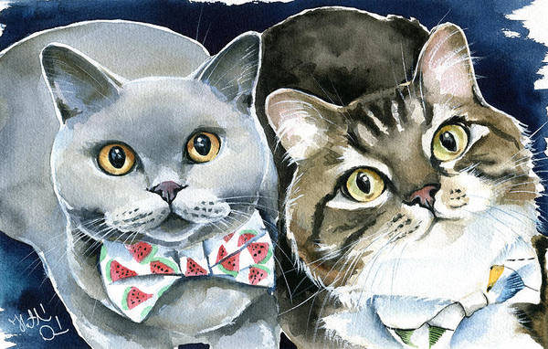 Painting - Charlie And Teddy Cat Painting by Dora Hathazi Mendes
