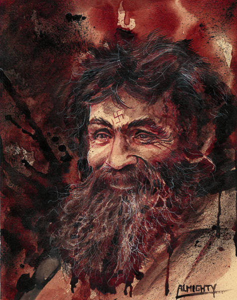 Serial Killer Painting - Charles Manson Portrait Dry Blood by Ryan Almighty