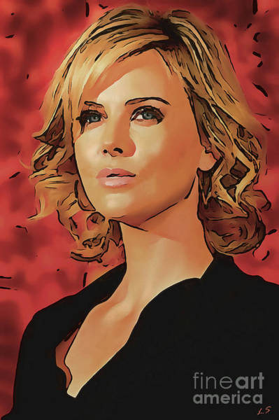 Wall Art - Painting - Charlize Theron Collection - 1 by Sergey Lukashin