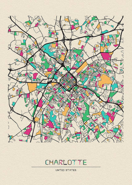 Wall Art - Drawing - Charlotte, North Carolina City Map by Inspirowl Design