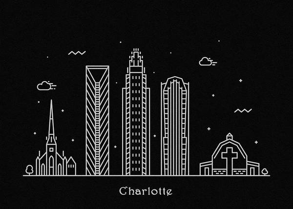 Wall Art - Digital Art - Charlotte Skyline Travel Poster by Inspirowl Design