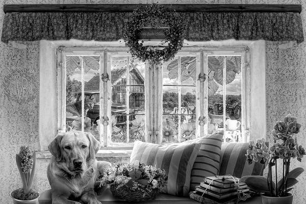 Digital Art - Charming Country Life In Black And White by Debra and Dave Vanderlaan