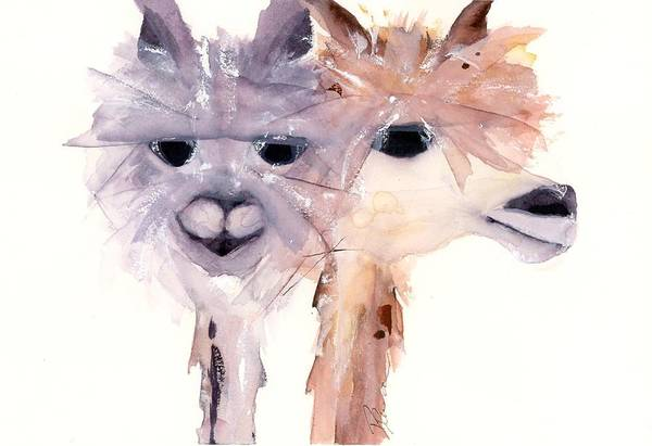 Alpaca Painting - Charming Pair by Dawn Derman