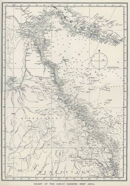 Wall Art - Painting - Chart Of The Great Barrier Reef Area From The Great Barrier Reef Of Australia 1893 By William Savi by William Saville-Kent