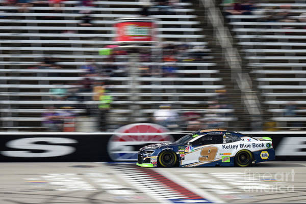 Photograph - Chase Elliott Crossing The Finish Line At T M S by Paul Quinn
