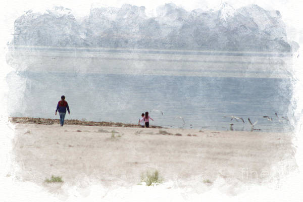 Photograph - Chasing Seagulls At The Salton Sea In Digital Watercolor by Colleen Cornelius