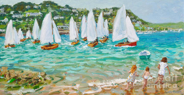 Wall Art - Painting - Chasing The Boats, Salcombe  by Andrew Macara