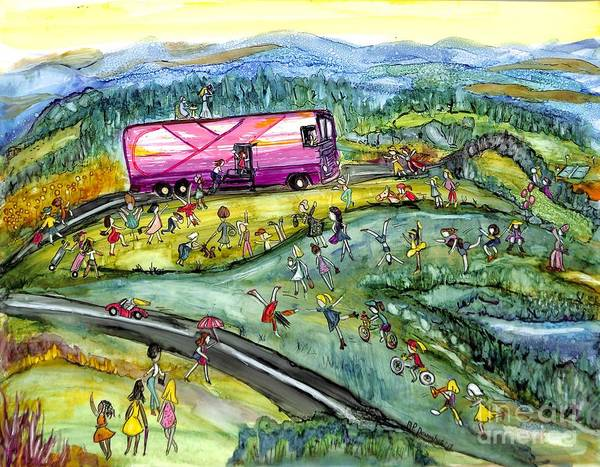Skipping Painting - Chasing The Pink Bus by Patty Donoghue