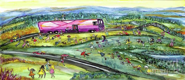 Wall Art - Painting - Chasing The Pink Bus Wide by Patty Donoghue