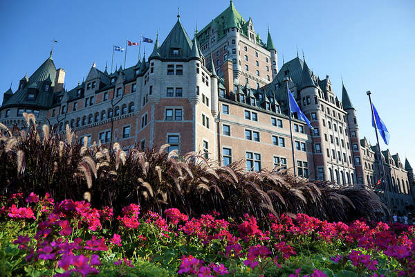 Quebec City Photograph - Chateau Frontenac With Flowers In by Onfokus