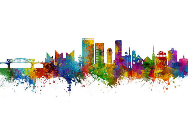 Wall Art - Digital Art - Chattanooga Tennessee Skyline by Michael Tompsett